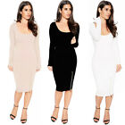Fashion Women Bandage Bodycon Long Sleeve Evening Sexy Party Cocktail Midi Dress