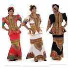 NEW Women Luxury Traditional Print Dashiki Shirt Dress skirt Suit set sz 12-24
