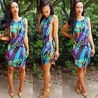 Women Summer Sleeveless Bandage Bodycon Floral Evening Party Cocktail Mini Dress