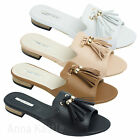 AnnaKastle New Womens Two Tassels Slide Flat Sandal US 5 6 7 8
