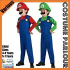 New Boys Super Mario Luigi Brothers Bros Nintendo Childrens Kids Costume