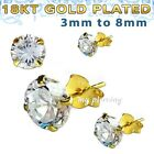 PAIR 3mm - 8mm .925 Sterling Silver 18K Gold Plated Round Prong Set CZ Earrings