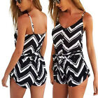 Women Playsuit Sexy Elastic Striped Hot Summer Strappy Jumpsuit Clubwear Party