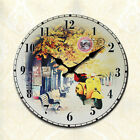 Vintage Wood Wall Silent No Ticking Autumnal Scenery Clock 30/34cm Home Decor