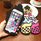3D Cartoon Ice Cream Soft Silicone Phone Back Case Cover Skin For Various Phones