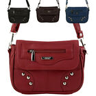 Small Faux Leather Shoulder / Cross Body Flap Over Bag - Black, Navy, Red, Plum