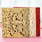 Personalized Gold Ivory Floral Laser Cut Wedding Invitation Cards With Envelopes