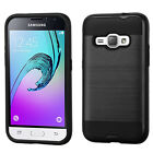 Samsung Galaxy EXPRESS 3 / AMP 2 - Brushed Metal Texture Hybrid Hard Case Cover
