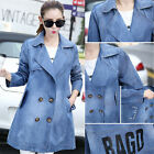 New Fashion Double-breasted Washed Denim Jacket Jean Trench Coat Parka Slim