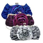 Fashion Floral Design Satin Rose Clutch Evening Bag Party