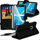 Leather Book Wallet Phone Case Cover+Stereo Headphones for Blackberry