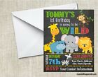 Zoo Jungle Baby Shower or Birthday Chalkboard Party Invitations Personalized