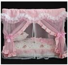 New Lace Princess Handmade Curtain Pet Dog Cat Bed House Sofa Frame Steel 6color