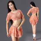 2016 Sexy Belly Dancing Costumes Set Dancewear stage Lace 2Pcs Top Skirt M L