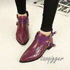 England Women Point Toe Buckle Strap Ankle Boots Cuban Heel Casual Boots Fashion