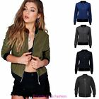 Ladies Womens MA1 Retro Flight Vintage Bomber Biker Lightweight Padded Jacket