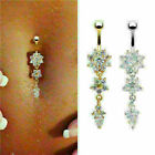 buy belly bars 99p - Beauty Crystal CZ Stone Flower Navel Belly Button Ring Bar Body Piercing Jewelry