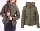 New Ladies Womens Padded Quilted Puffer Bubble Fur Collar Jacket Coat Size 8-14