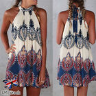 UK Women Mini Playsuit Ladies Jumpsuit Summer Gypsy Beach Print Boho Short Dress