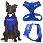 Внешний вид - THERAPY DOG Blue Pet Vest Harness Non Pull Front Back Ring Padded Waterproof New