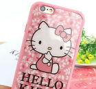 iPhone SE 5S 6 6S 6S+ Plus - TPU Rubber Gummy Case Peach Pink Flower Hello Kitty