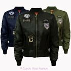 NEW WOMENS STYLISH BADGE AIR FORCE ARMY PADDED RETRO LADIES BOMBER BIKER JACKET
