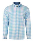 MENS SHIRT LONG SLEEVE CHECKED EX MATALAN BLUE & WHITE BRAND NEW