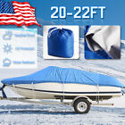"""210D Oxford 20 21 22ft Trailerable Waterproof Boat Cover V-Hull Beam 100"""" -Blue"""