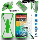 Tempered Glass Screen Protector+silicone bumper Stand Case for BQ Aquaris Phones