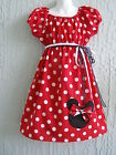 Minnie Mouse Applique Girl Dress Insprd. 70's Cotton Size 4-12 yrs Handmade Gift
