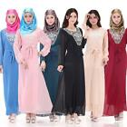 Kaftan Muslim Women Maxi Dress Abaya Jilbab Islamic Fashion Long Sleeve Dresses