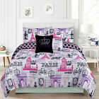 Bedding Girls Comforter Bed Set Paris Eiffel Tower London, Pink and Purple фото