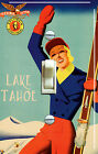 TAHOE or TRUCKEE Ski Gal Vintage Poster Single/Double Switch Plate FREE SHIPPING