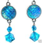 Aqua Blue Snakeskin Cabochon Resin Crystal Glass Bead Silver Earring Set