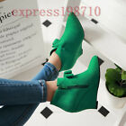 Sweet Women's Winter Chic Bowknot Zip Ankle Boots Faux Suede Pointed Toe Shoes