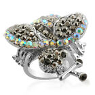CHUNKY BEE YELLOW JACKET WASP RING WHITE GRAY AUSTRIAN CRYSTALS SIZE 7 8 NEW