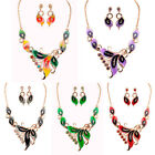 Lady Sweet Gold Tone Flowers Crystal Pendant Chain Necklace Earring Jewelry Set
