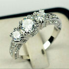 1*Wedding Bride 10K Gold Filled White Sapphire Ring Size 6-9 Engagement Jewelry