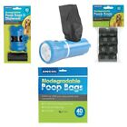 Ancol Dog Poop Bags Bio-Degradable Puppy Waste Dispenser Refill Poo Bag or Torch