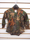 Infant Boys True Timber Camo Long Sleeved Bodysuit w/ Brown Trim Size NB - 6/12m