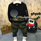 Autumn Child Kids Baby Boy Mix Camouflage Zipper Hooded Coat+Trousers Sets 2-7Y