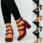 New Womens Ladies Mid Block Heel Mary Jane Ankle Strap Pumps Shoes Size Uk 3-8