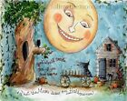 You Would Smile Too Witch Pumpkins Black Cat Moon Face Halloween Art Print