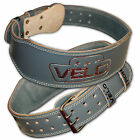 """VELO Weight Lifting 4"""" Leather Belt Gym Back Support Strap Power Fitness Train"""