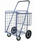 Premium Metallic Folding Shopping Cart Double Baskets 150 lb Capacity Grocery