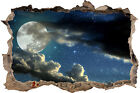 AMAZING MOON WITH STARS AND CLOUDS 3D SMASHED HOLE IN WALL EFFECT DECAL