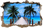 AMAZING TROPICAL BEACH WITH PALMS 3D SMASHED HOLE IN WALL EFFECT DECAL