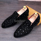 Mens Rhinestones Slipper British Style Pull On Loafers Casual Shoes Oxfords Size