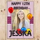 Personalised Girls Happy 10th 12th 13th Birthday PHOTO Poster Banner N83 ANY AGE