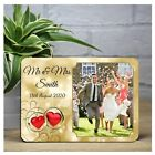 Personalised Gold Rings Hearts Wedding Day WOOD PHOTO KEEPSAKE FRAME PRINT GIFT